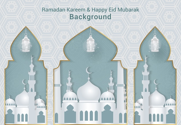 Weißer ramadan kareem und glücklicher eid mubarak hintergrundvektor