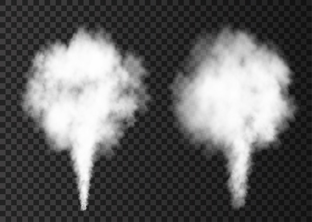 Weißer rauch platzt isoliert auf transparent Premium Vektoren