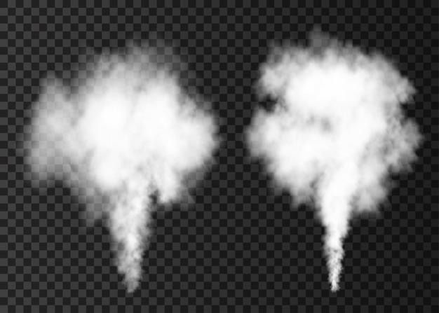 Weißer rauch platzte auf transparentem hintergrund isoliert. dampfexplosions-spezialeffekt. realistische vektorspalte von feuernebel oder nebeltextur.