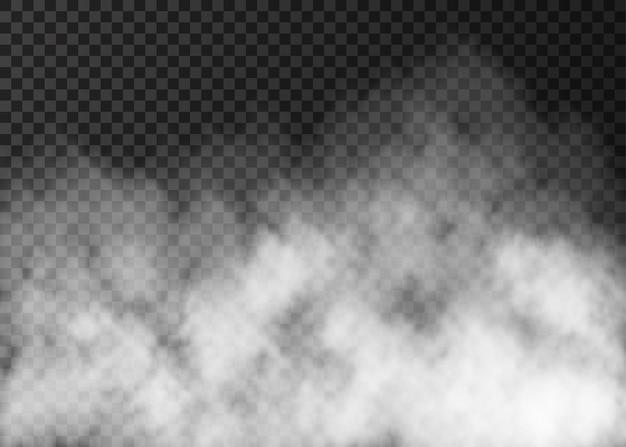 Weißer rauch textur auf transparentem hintergrund isoliert. dampf-spezialeffekt. realistischer vektornebel oder -nebel.