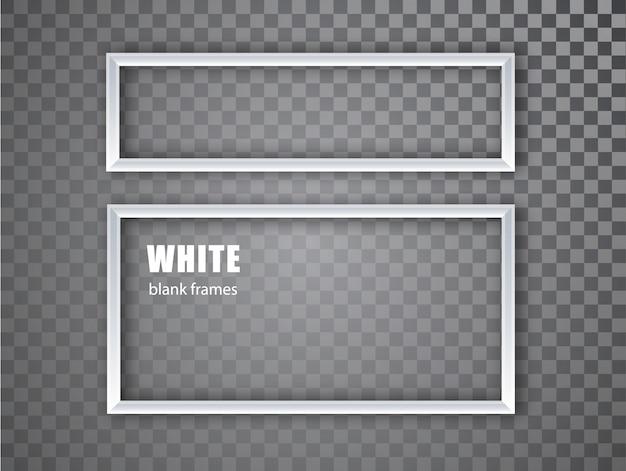 Weißer realistischer leerer bilderrahmen auf transparentem hintergrund. leere weiße bilderrahmenschablone isoliert. illustration.
