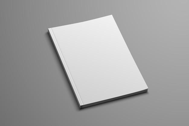 Weißer realistischer rohling des a4- und a5-katalogs auf grau