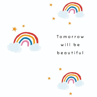 Weißer regenbogen-vorlagenvektor für social-media-post-zitat morgen wird schön sein