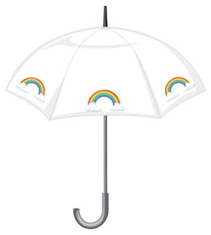 Weißer regenschirm mit regenbogenmuster