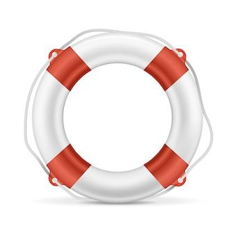 Weißer rettungsring mit roten streifen und seil