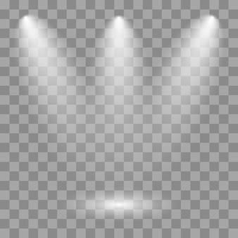 Weißer scheinwerfer leuchtet auf der bühne, szene, podium.