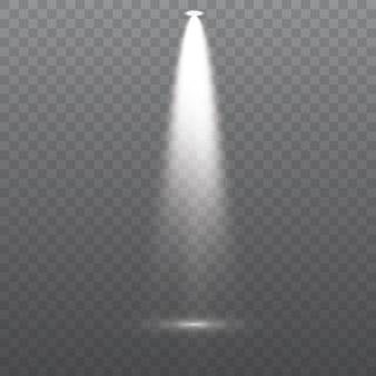 Weißer scheinwerfer leuchtet auf der bühnenszene podiumslinsen-blitzlichteffekt von einer lampe oder einem scheinwerfer