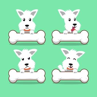 Weißer schottischer terrierhund der zeichentrickfilm-figur mit den großen knochen
