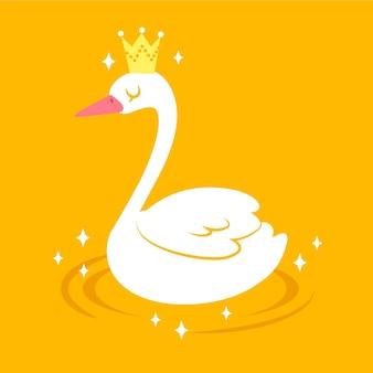 Weißer schwan, der auf einem see schwimmt