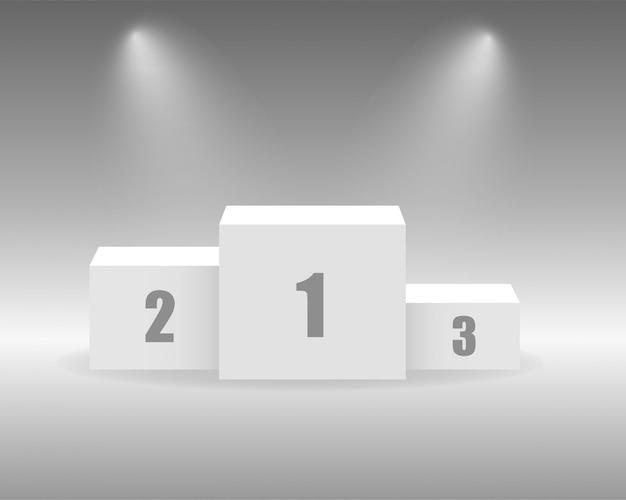 Weißer siegerpodest mit beleuchtung. 3d-podium für die gewinner des 1., 2. und 3. wettbewerbs. vektorillustration.