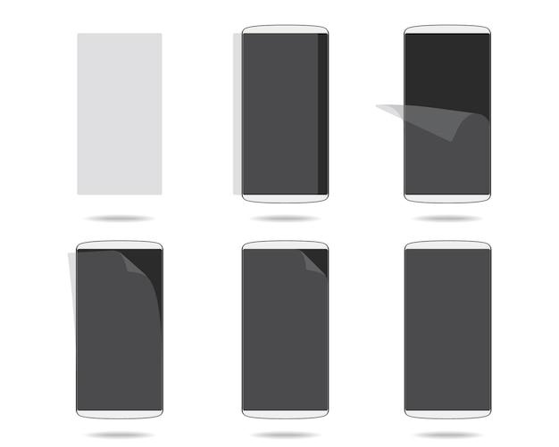 Weißer smartphonebildschirm mit schutzglas stellte verschiedene schritte ein