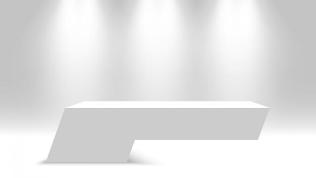Weißer sockel. leeres podium mit scheinwerfern. illustration.