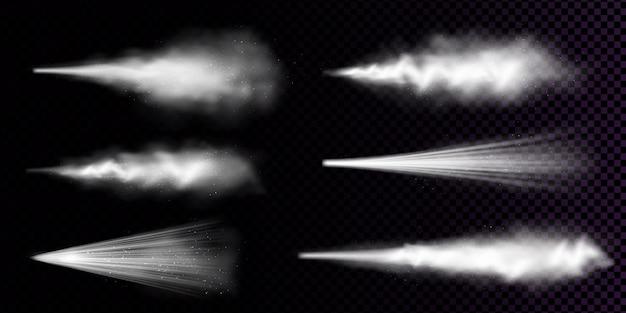 Weißer staubspray lokalisiert auf transparentem hintergrund. realistischer satz von rauch oder pulver mit partikeln, die aus aerosol, sprühkosmetik, duft oder deodorant spritzen