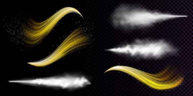 Weißer staubspray und gewellte flüsse des goldenen pulvers lokalisiert auf transparentem hintergrund