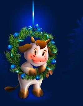 Weißer stier und weihnachtstannenkranzsymbol