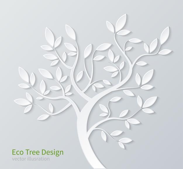 Weißer stilisierter papierbaum mit zweigen und blättern lokalisiert auf weißem hintergrund.