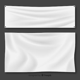 Weißer stoff-banner-set
