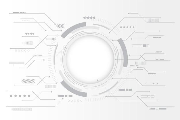 Weißer technologiehintergrund mit kreisdiagramm