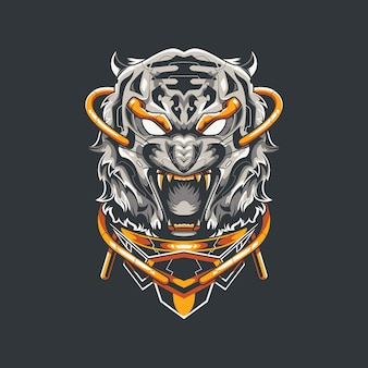 Weißer tiger illustration und t-shirt design