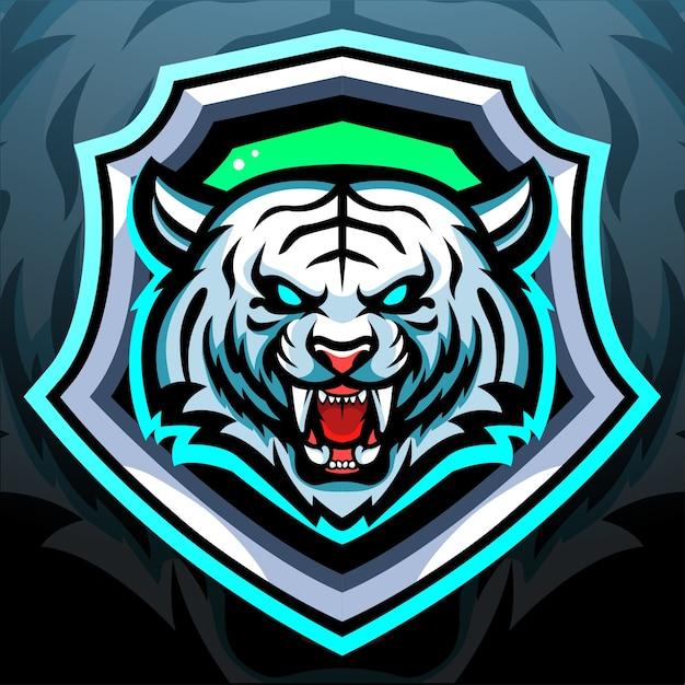 Weißer tiger maskottchen esport logo design