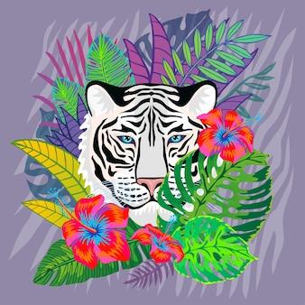 Weißer tigerkopf in den bunten tropischen blättern