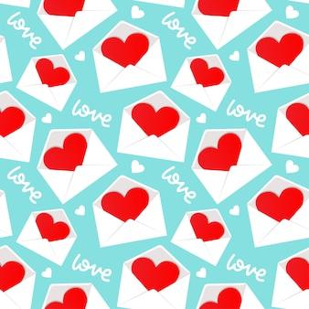 Weißer umschlag mit dem valentinsgrußherzen innerhalb des musters nahtlos