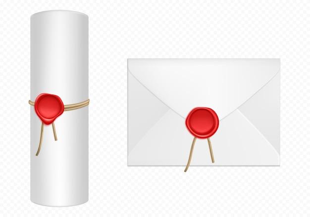 Weißer umschlag und schriftrolle mit roter wachsschablone