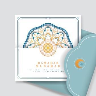 Weißer und blauer eid mubarak-postkartenvektor