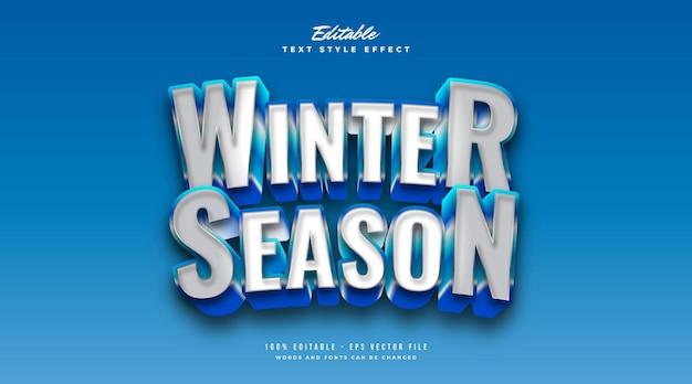 Weißer und blauer wintertextstil mit frost und 3d-effekt. bearbeitbarer textstileffekt