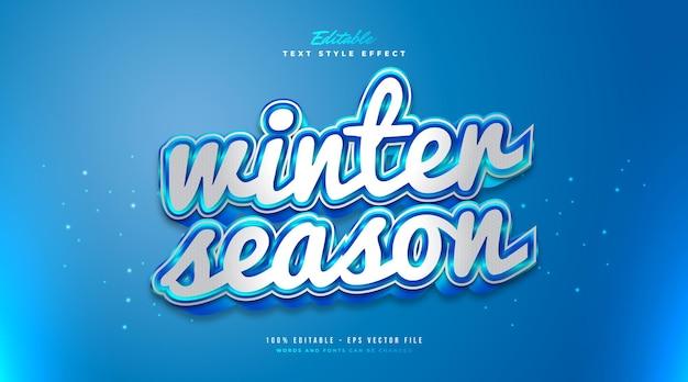 Weißer und blauer wintertextstil mit gefrorenem effekt. bearbeitbarer textstileffekt