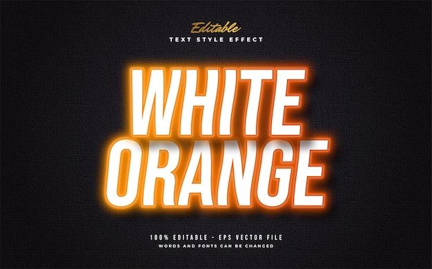 Weißer und orangefarbener textstil mit leuchtendem neon und welleneffekt. bearbeitbarer textstileffekt