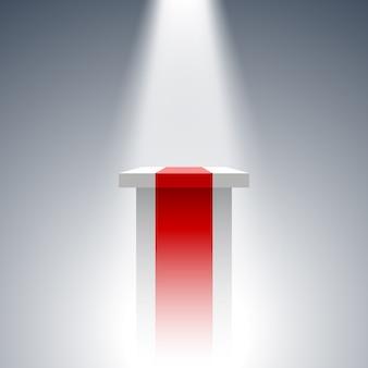 Weißer und roter sockel. stand. tribun. scheinwerfer. .