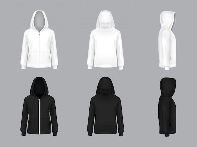 Weißer und schwarzer hoodie mit langen ärmeln und taschen, vorne, hinten, seitenansicht,