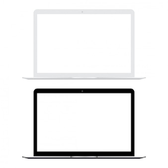 Weißer und schwarzer laptop mit weißem bildschirmspott oben