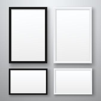Weißer und schwarzer realistischer leerer bilderrahmen auf grauem hintergrund