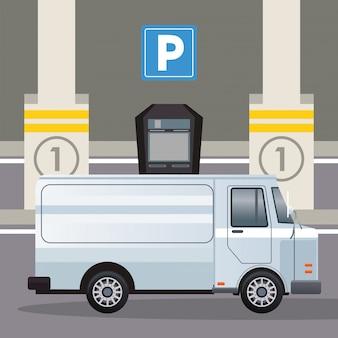 Weißer van-fahrzeugtransport in der parkzonenillustration