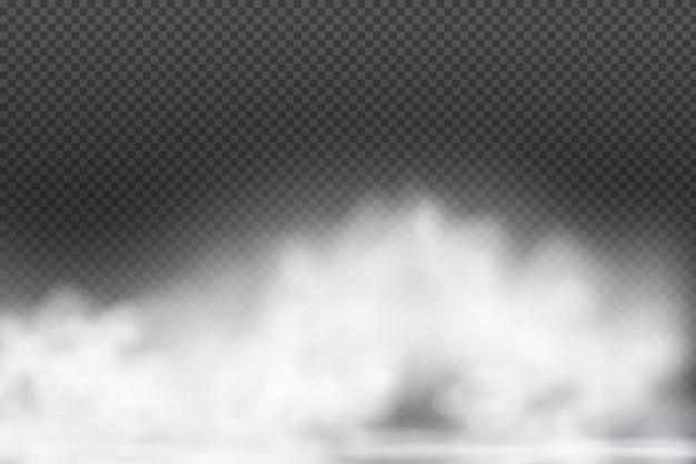 Weißer vektorbewölkter nebel oder rauch auf dunklem kariertem hintergrund