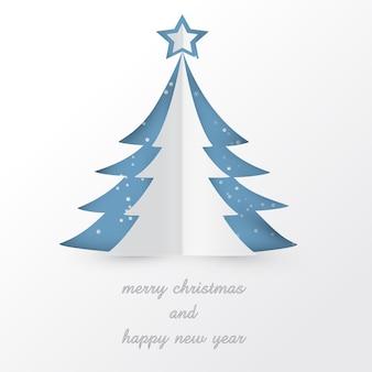 Weißer weihnachtsbaum mit stern und schnee im papier schnitt artdesign für karte oder tapete
