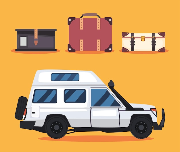 Weißer wohnmobilanhänger mit taschenset