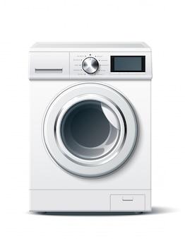 Weißes 3d-modell der realistischen waschmaschine des vektors