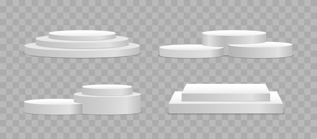 Weißes 3d podium in verschiedenen formen. sockel und plattform, standbühne, zylinder.