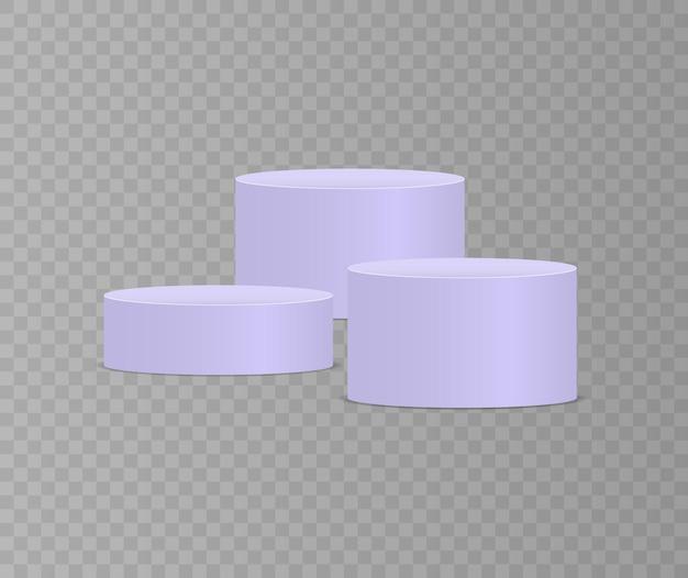 Weißes 3d podium in verschiedenen formen