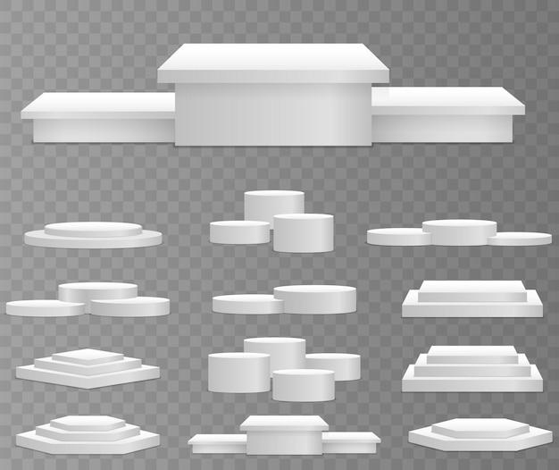 Weißes 3d-podiummodell in verschiedenen formen