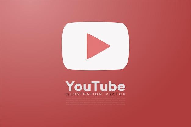 Weißes 3d youtube auf rotem hintergrund