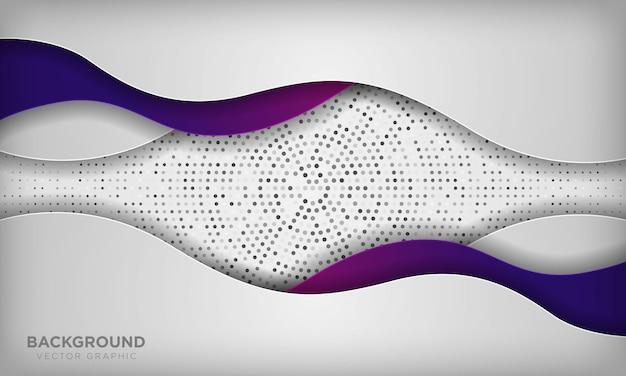 Weißes abstraktes welle papercut überlagert hintergrund mit bunter purpurroter steigung. beschaffenheit mit silbernem kreisradialhalbtonbild.