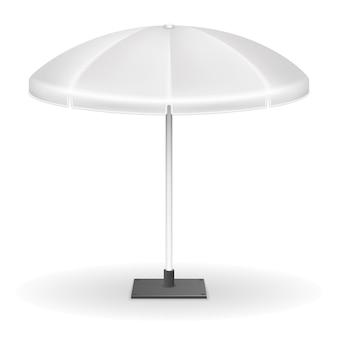 Weißes außenzelt, sonnenschirmständer isoliert. regenschirm zum schutz vor sonne,