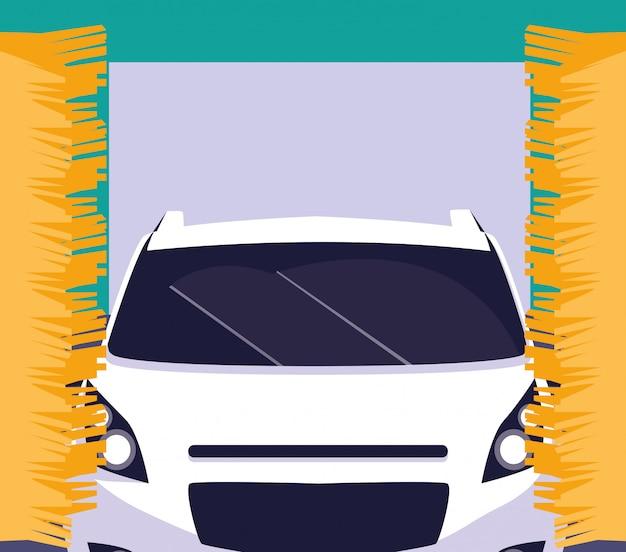 Weißes auto in der wartungswerkstatt