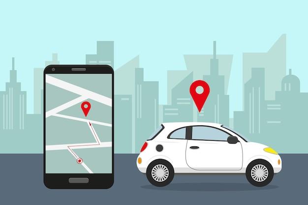 Weißes auto in stadt und smartphone mit mobiler app