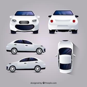 Weißes auto in verschiedenen ansichten