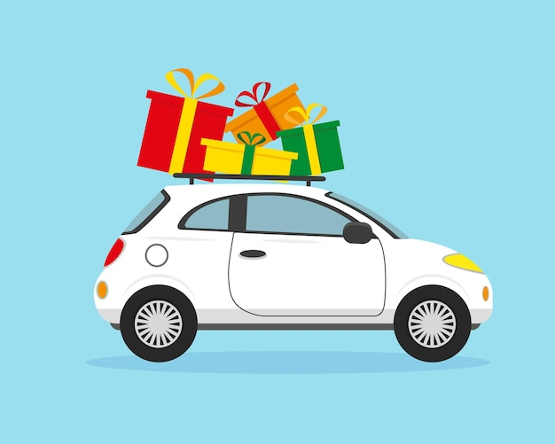 Weißes auto mit weihnachtsgeschenken auf dem dach weihnachts- und neujahrskonzept